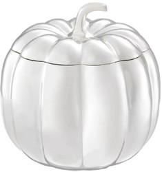 Casa Padrino luxury storage box in pumpkin shape silver Ø 21.5 x H. 22 cm - Decorative Pumpkin with Lid