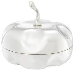 Casa Padrino luxury storage box in pumpkin shape silver Ø 20 x H. 17.5 cm - Decorative Pumpkin with Lid