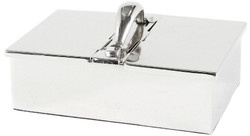 Casa Padrino luxury cigar box silver 24 x 12 x H. 17 cm - Noble brass cigar box with stainless steel handle - Luxury Accessories
