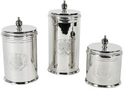Casa Padrino luxury cookie jar set silver - 3 round brass storage jars with lids - Hotel & Restaurant Accessories