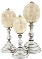 Casa Padrino luxury decoration set natural / silver - 3 Eggs made of natural bones with base - Desk Decoration - Living Room Decoration - Luxury Collection