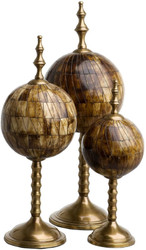 Casa Padrino luxury decoration set antique brown / antique brass - 3 Balls made of natural bones with base - Desk Decoration - Living Room Decoration