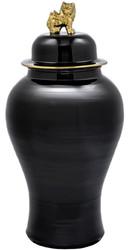 Casa Padrino luxury decorative vase black / gold Ø 42 x H. 90 cm - Chinese Porcelain Vase with Lid