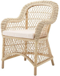 Casa Padrino luxury rattan dining chair with armrests and cushion natural / cream 63 x 68 x H. 88 cm - Dining Room Furniture
