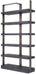 Casa Padrino Luxus Regalschrank Schwarz / Bronze 120,5 x 40 x H. 230 cm - Eichenfurnier Schrank mit Edelstahlrahmen - Bücherschrank - Luxus Wohnzimmer Möbel