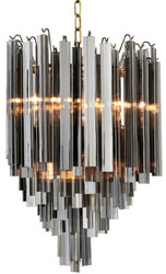 Casa Padrino Luxury Art Deco Chandelier Gray / Brass Ø 42 x H. 61.5 cm - Hotel & Restaurant Chandelier