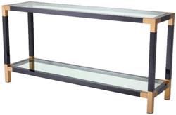 Casa Padrino Luxus Konsole Schwarz / Messingfarben 150 x 40 x H. 75 cm - Edelstahl Konsolentisch mit Glasplatten - Luxus Möbel