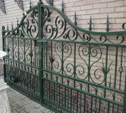 Casa Padrino Art Nouveau Entrance Gate Green 336 x H. 206 cm - Double Wing Gate - Metal Gate - Baroque & Art Nouveau Garden Accessories
