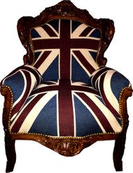 "Casa Padrino Barock Sessel ""King""  Union Jack / Braun - Möbel Antik Stil Englische Flagge"