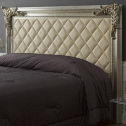 Casa Padrino luxury baroque bed headboard with faux leather antique silver / antique gold / ivory 210 x 12 x H. 140 cm - Baroque Bedroom Furniture
