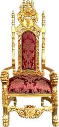 Casa Padrino baroque throne armchair bordeaux pattern / gold king armchair - wedding armchair - giant armchair
