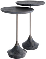 Casa Padrino luxury side table set gray / bronze Ø 35 cm - Round marble tables - Luxury Living Room Furniture
