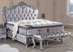 Casa Padrino baroque double bed silver - Ornate velvet bed with rhinestones and mattress - Baroque Bedroom Furniture