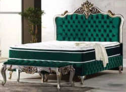 Casa Padrino baroque double bed green / silver / antique gold - Ornate bed with mattress - Baroque Furniture