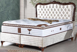 Casa Padrino baroque double bed with mattress champagne / brown - Noble bed in baroque style - Complete Set