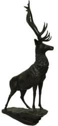 Casa Padrino luxury bronze sculpture deer on rock bronze / black 80 x 60 x H. 160 cm - Bronze Figure - Animal Figure - Hotel & Restaurant Decoration Accessories