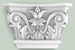 Casa Padrino Barock Zierelement Säulen Kopfteil Weiß 22,8 x 6,2 x H. 14,9 cm - Wanddeko im Barockstil
