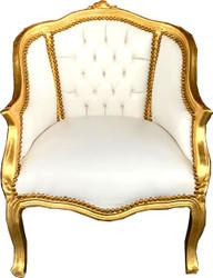 Casa Padrino Barock Damen Salon Sessel Weiß Kunstleder / Gold - Salon Möbel