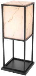 Casa Padrino Luxus Stehleuchte Schwarz / Alabasterfarben 45 x 45 x H. 114,5 cm - Moderne Wohnzimmer Lampe - Luxus Kollektion