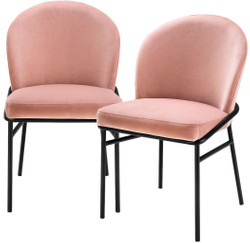 Casa Padrino luxury dining chairs pink / black 49 x 56 x H. 82 cm - Kitchen chairs with fine velvet - Dining Room Set