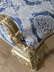 Casa Padrino luxury baroque armchair blue / white / gold 89 x 94 x H. 122 cm - Living room furniture in baroque style - Noble & Ornate 3