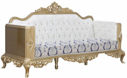 Casa Padrino luxury baroque sofa blue / white / gold 234 x 93 x H. 124 cm - Living room furniture in baroque style - Noble & Ornate