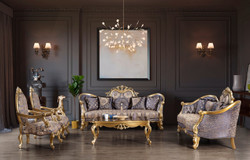 Casa Padrino luxury baroque living room set blue / gold / silver - 2 Sofas & 2 Armchairs & 1 Coffee Table - Living Room Furniture - Noble & Ornate