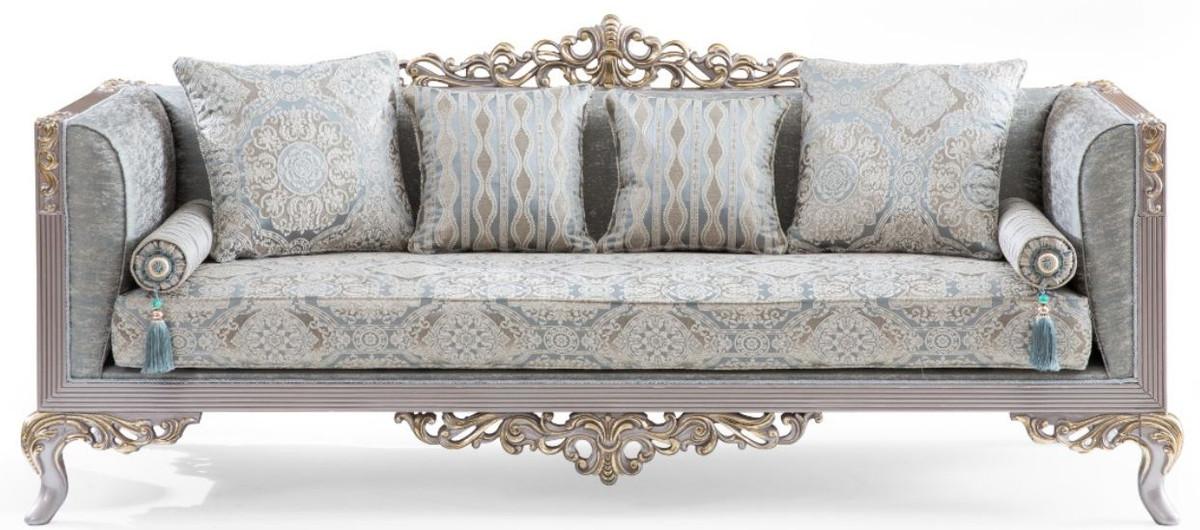Casa Padrino Luxus Barock Sofa Turkis Silber Gold 225 X 86 X H