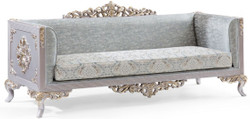 Casa Padrino luxury baroque sofa turquoise / silver / gold 225 x 86 x H. 98 cm - Noble Living Room Sofa in Baroque Style - Baroque Furniture