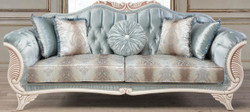 Casa Padrino luxury baroque living room sofa with decorative cushions turquoise / cream / bronze 232 x 87 x H. 96 cm - Living Room Furniture in Baroque Style