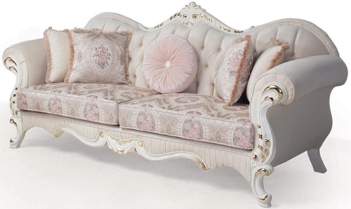 Casa Padrino Luxus Barock Sofa Rosa Weiss Gold 237 X 90 X H 99 Cm Wohnzimmer Couch Mit Dekorativen Kissen Barockmobel Barockgrosshandel De