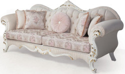 Casa Padrino luxury baroque sofa pink / white / gold 237 x 90 x H. 99 cm - Living room couch with decorative pillows - Baroque Furniture