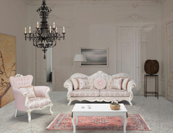 Casa Padrino luxury baroque living room set pink / white / gold - 2 Sofas & 2 Armchairs & 1 Coffee Table - Living room furniture in baroque style - Noble & Ornate