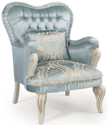 Casa Padrino luxury baroque armchair turquoise / cream / gold 76 x 82 x H. 104 cm - Living Room Armchair with Decorative Pillow
