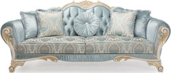 Casa Padrino luxury baroque sofa with decorative cushions turquoise / cream / gold 234 x 87 x H. 99 cm - Living Room Furniture in Baroque Style