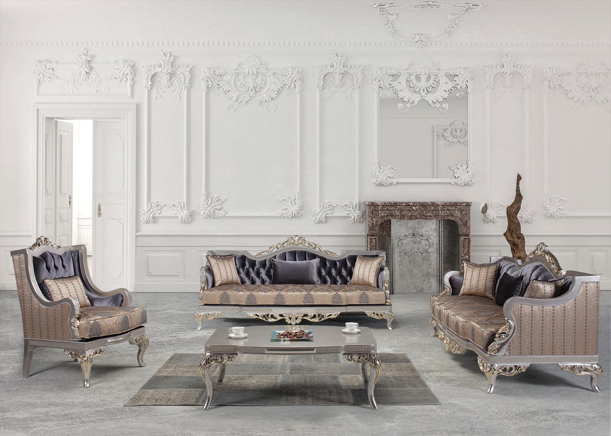Casa Padrino luxury baroque living room set purple / beige / silver / gold    200 Sofas & 200 Armchairs & 20 Coffee Table   Living room furniture in baroque  ...