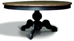 Casa Padrino Art Nouveau dining table solid oak round wood colors / black Ø 160 x H. 77 cm - Round solid wood dining table