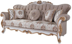 Casa Padrino luxury baroque sofa with cushions gray / multicolor / white / bronze 232 x 87 x H. 101 cm - Living room couch with floral pattern and beautiful decorations