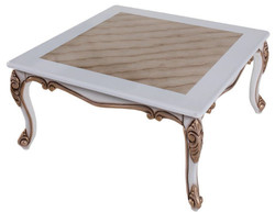 Casa Padrino luxury baroque coffee table beige / white / bronze 89 x 65 x H. 45 cm - Solid wood living room table in baroque style - Baroque Living Room Furniture