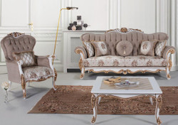 Casa Padrino luxury baroque living room set gray / multicolor / white / bronze - 2 Sofas & 2 Armchairs & 1 Coffee Table - Living room furniture in baroque style - Noble & Ornate