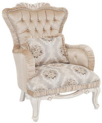 Casa Padrino luxury baroque armchair beige / white 76 x 83 x H. 109 cm - Living room armchair with floral pattern and decorative pillow - Baroque Furniture