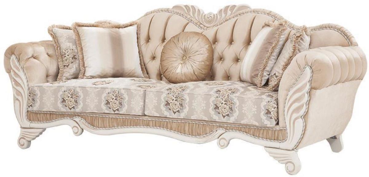 Casa Padrino Luxus Barock Sofa Beige / Weiß 230 x 88 x H ...