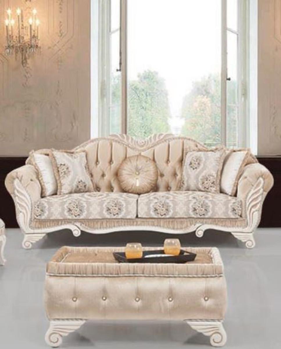 Casa Padrino Luxus Barock Sofa Beige Weiss 230 X 88 X H 96 Cm Wohnzimmer Sofa Mit Blumenmuster Und Dekorativen Kissen Barock Mobel Barockgrosshandel De
