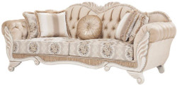 Casa Padrino luxury baroque sofa beige / white 230 x 88 x H. 96 cm - Living room sofa with floral pattern and decorative pillows - Baroque Furniture