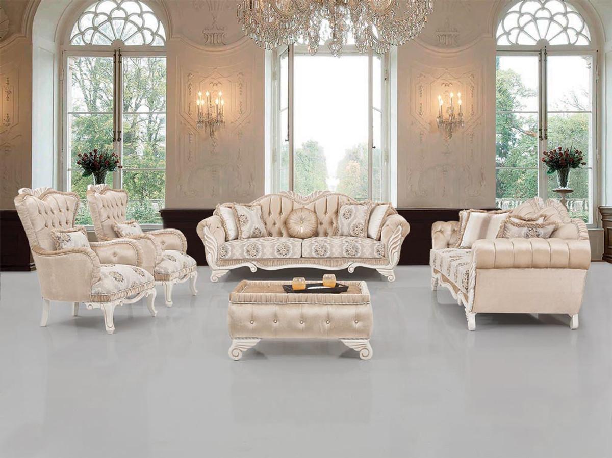 Casa Padrino Luxus Barock Wohnzimmer Set Beige / Weiß - 100 Sofas & 100 Sessel  & 10 Hocker - Wohnzimmer Möbel im Barockstil - Edel & Prunkvoll