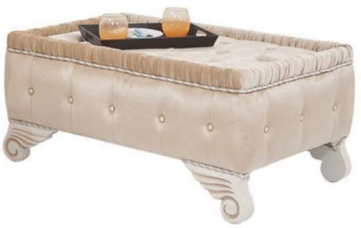 Casa Padrino Luxus Barock Wohnzimmer Set Beige / Weiß - 2 Sofas & 2 Sessel  & 1 Hocker - Wohnzimmer Möbel im Barockstil - Edel & Prunkvoll