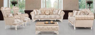 Casa Padrino Luxus Barock Wohnzimmer Set Beige / Weiß - 2 ...