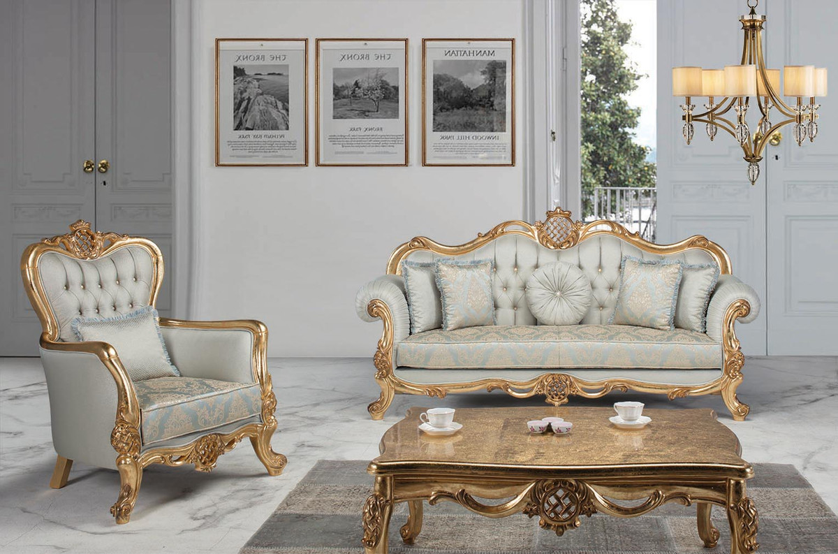 Casa Padrino Luxury Baroque Living Room Set Light Blue Turquoise Gold 2 Sofas 2 Armchairs 1 Coffee Table Living Room Furniture In Baroque Style Noble Ornate