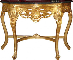 Casa Padrino Baroque console table Gold / Black with marble top Mod2 - Console