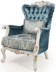 Casa Padrino luxury baroque living room armchair with pillow blue / white / gold 87 x 76 x H. 115 cm - Baroque Furniture - Noble & Ornate